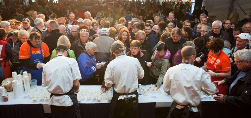 Photo shows a view behind chefs at the PEI Shellfish Festival