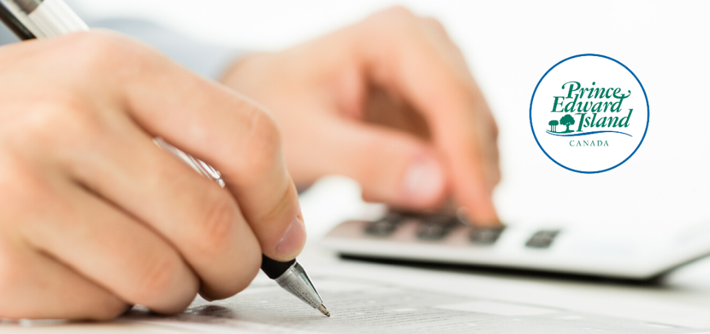 iStock image of person using calculator with PEI wordmark