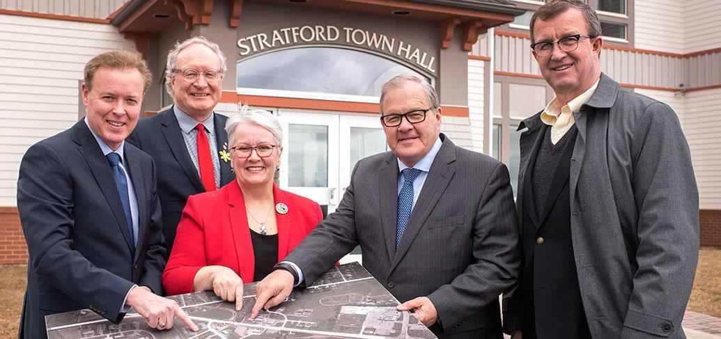Mayor Dunphy, Premier MacLauchlan, Minister Biggar, federal Minister MacAulay, MLA McIsaac