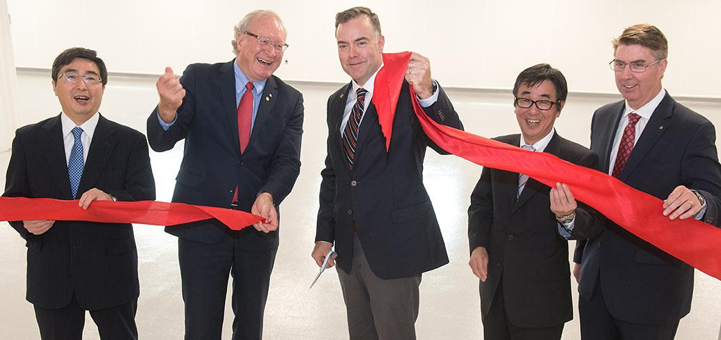 His Excellency Kimihiro Ishikane, Premier Wade MacLauchlan, Biran Stewart, Goichi Tsuchihashi, and Bob Schruender.
