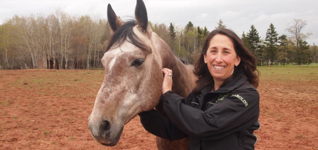Caroline LebLanc with therapy horse Diesel