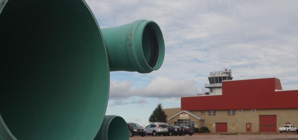 Water pipes await installation near Slemon Park airfield