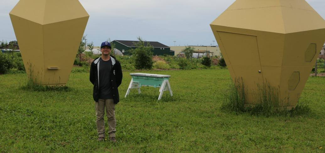 Broyde Chappell stands in a field between two four-metre high hexagon bee hives
