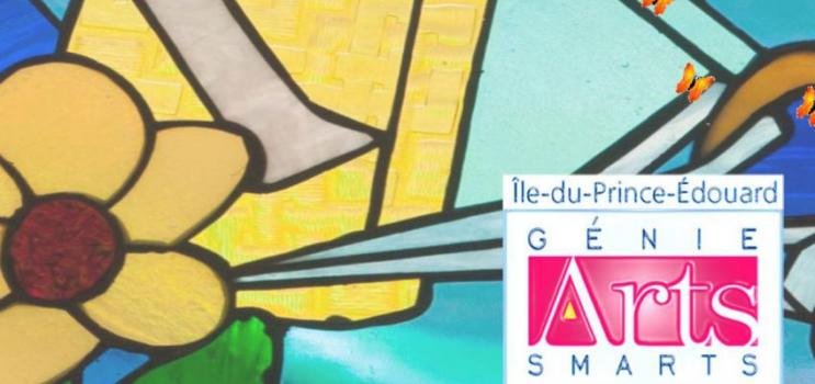 Image of stained glass with ArtsSmarts logo in foreground
