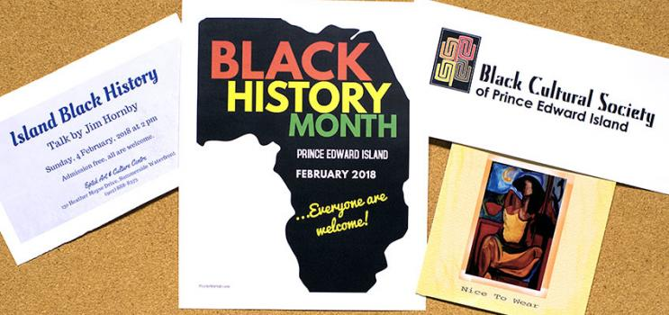 Black History month event flyers on a bulletin board