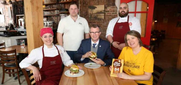 Group shot of L-R) Chef Erin Henry; Jeremy Stead, PEI Cattle Producers Association; Minister of Agriculture and Fisheries Alan McIsaac; Chef Ian Dawson; and Melody Dover, President and Creative Director, Fresh Media.