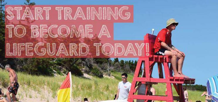 """Image of male lifeguard sitting on lifeguard stand at PEI beach with caption 'Start Training to Become a Lifeguard Today"""""""