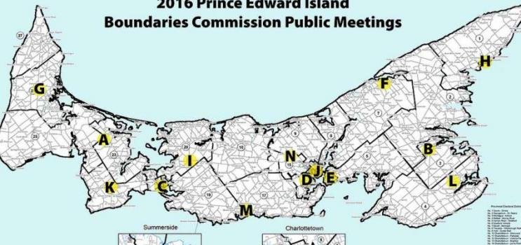 Map of Prince Edward Island that highlights locations of public meetings