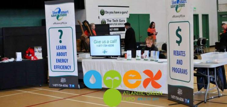 Image of efficiencyPEI information booth with AGEX logo overlaid