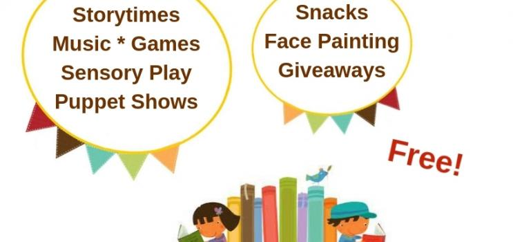 """Graphic of children and books for PEI Family Literacy Day event that reads: """"Free storytimes, music, games, sensory play, puppet shows, snacks, face painting, giveaways"""""""