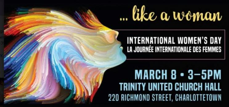 Full colour graphical image of a female hair and face for International Women's Day PEI