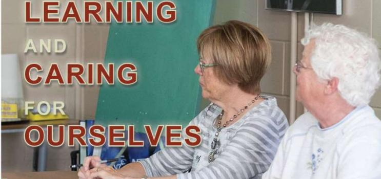 """Image of two Island seniors with text """"Learning and Caring for Ourselves"""""""