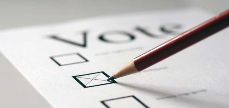Image of voter completing an election ballot