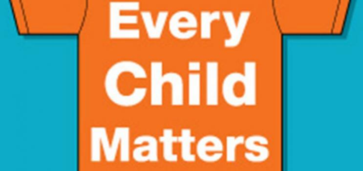 """Graphic of orange t-shirt with logo """"Every Child Matters"""""""
