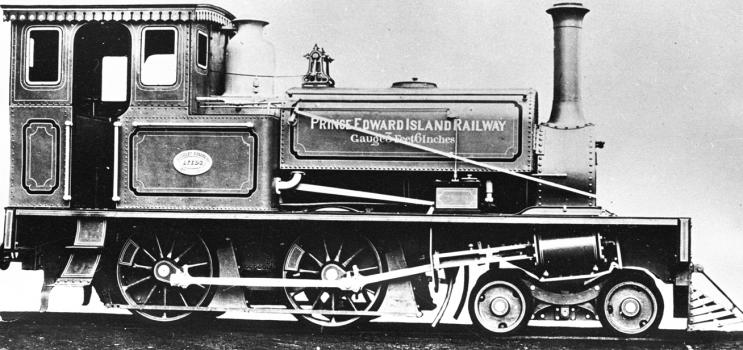 Photograph of a Prince Edward Island railway engine, ca. 1900