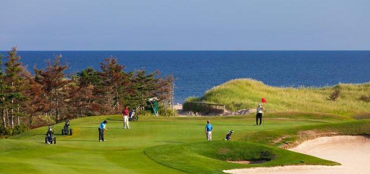 Groupe de personnes jouant au golf