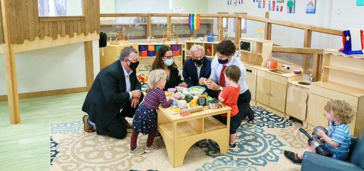 Premier Dennis King and Prime Minister Justin Trudeau play with children at local early years centre.
