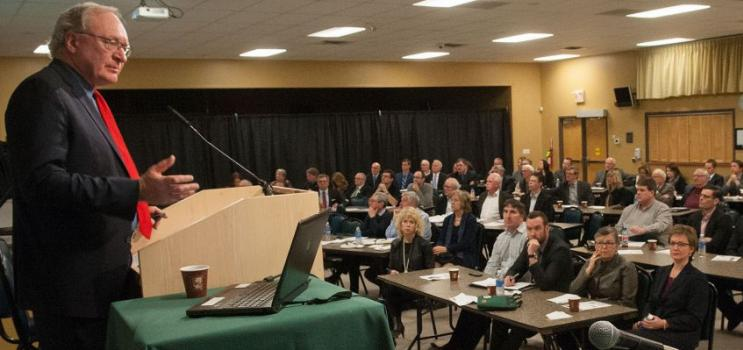 Premier Wade MacLauchlan address crowd at 2016 Economic Forum
