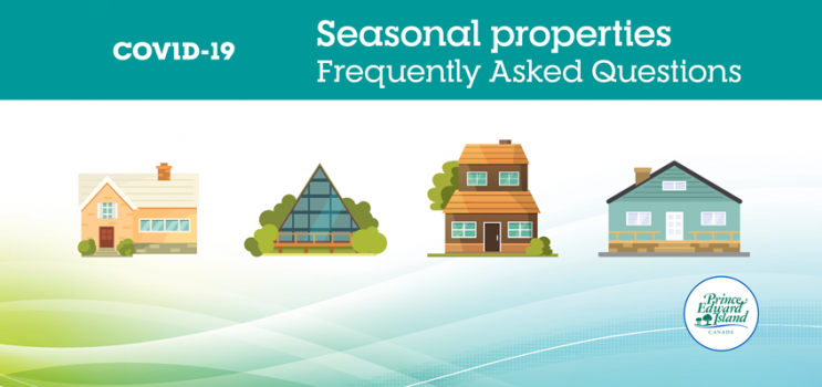 "COVID-19 graphic with text: ""Seasonal properties frequently asked questions"""