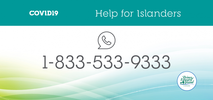 "COVID-19 graphic titled: ""Help for Islanders 1-833-533-9333'"