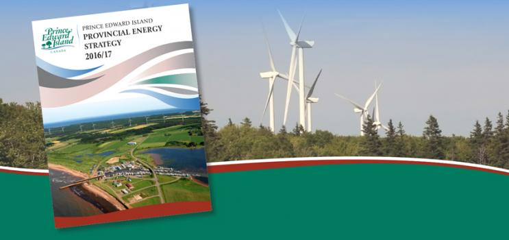 Image of Energy Strategy cover over background image of wind turbines