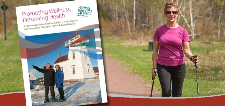 L'image de la couverture du plan d'action Promouvoir le mieux-être, préserver la santé est superposée sur la gauche d'une photo d'une femme aînée qui se promène sur un sentier bordé d'herbe et d'arbres.