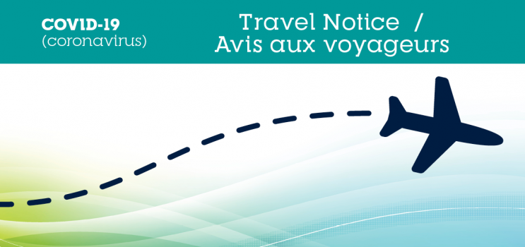 Graphic image of airplane with text : COVID-19 Travel Advice