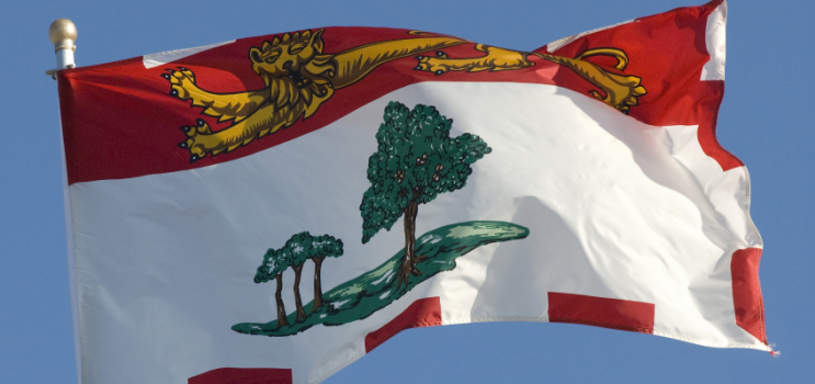 Prince Edward Island flag against a clear blue sky