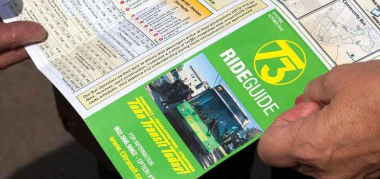 Public transit schedule brochure