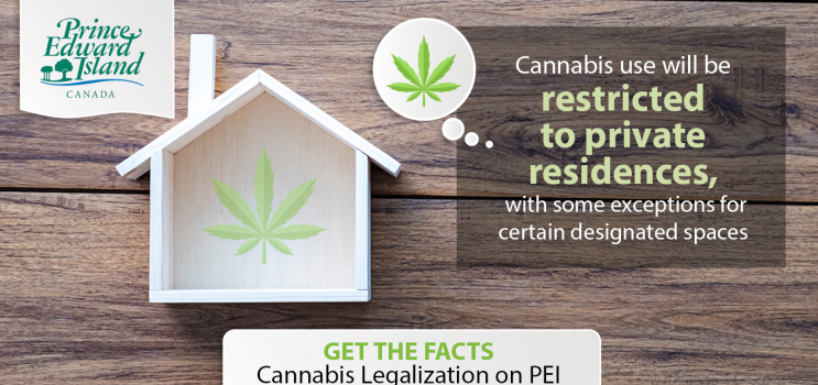 "Graphic image of house with cannabis leaf that reads ""Cannabis use will be restricted to private residences, with some exceptions for certain designated spaces"""