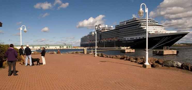 Cruise ship docked at Charlottetown harbour