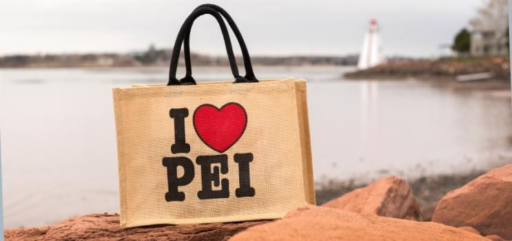 I Love PEI reusable bag with Victoria Park lighthouse in background