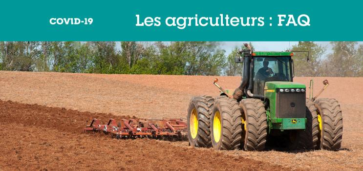 "Graphic box with text : ""Les agriculteurs :FAQ"""