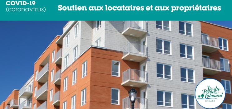"""Graphic of apartment building with text : """"Soutien aux locataires et aux proprietaires"""""""