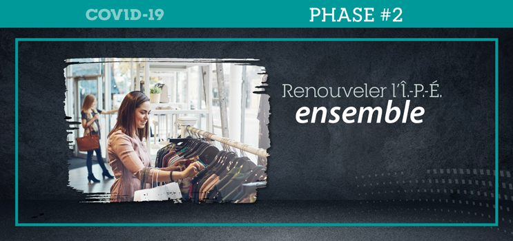 "Graphic of female in a retail shop with text : ""Renouveler l'Î.-P.-É. ensemble"""
