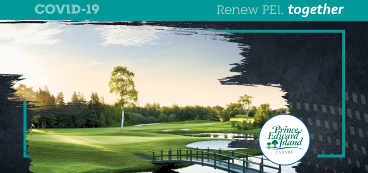 """Graphic and image of PEI golf course with text """"Renew PEI Together"""""""
