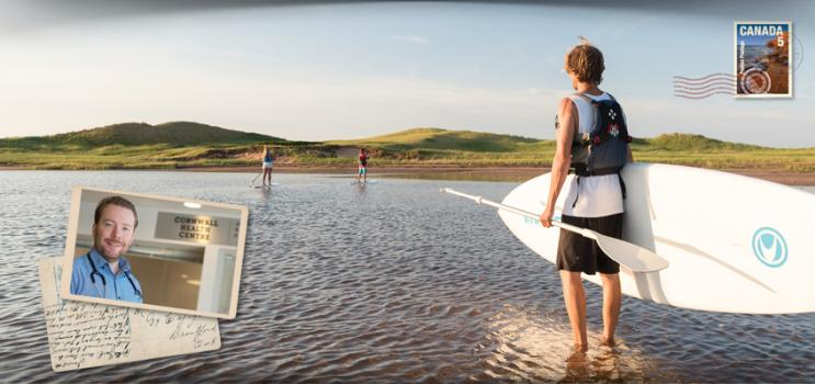 Image of male carrying paddle board to PEI beach with thumbnail image of physician as an insert
