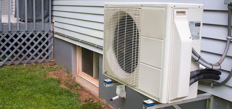 Energy efficient heat pump outside a PEI home
