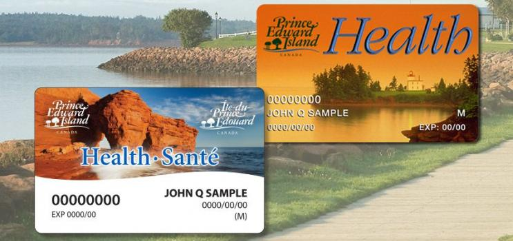 Charlottetown boardwalk with new and old PEI health cards overlaid