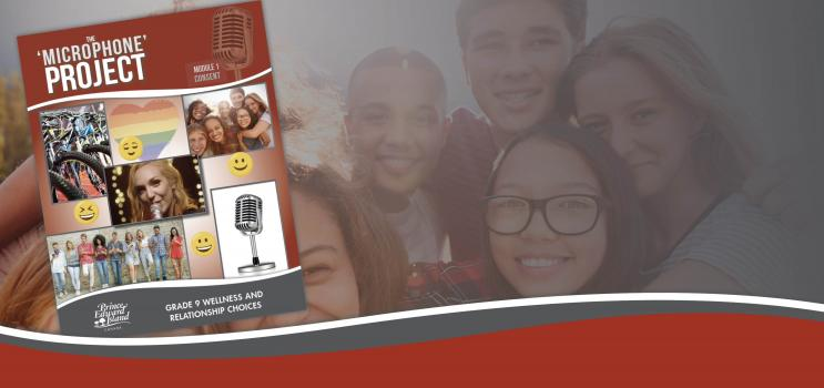 Image from cover of the Microphone Project lesson plan, including a shot of Kinley Dowling, songwriter