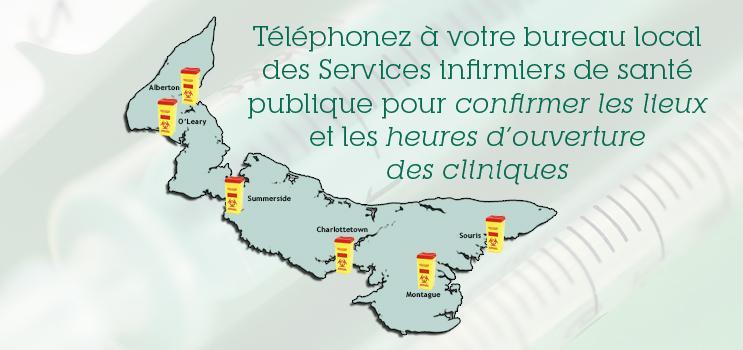 Programme d'échange de seringues -  Téléphonez à votre bureau local des Services infirmiers de santé publique pour confirmer les lieux et les heures d'ouverture des cliniques