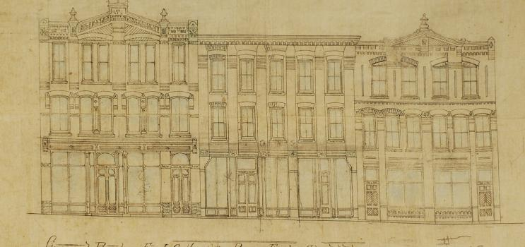 Drawing showing proposed exterior of buildings on Richmond Street, Charlottetown, ca. 1884