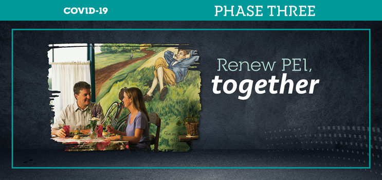 Graphic image of a couple dining at a PEI restaurant with text: Renew PEI together - Phase Three