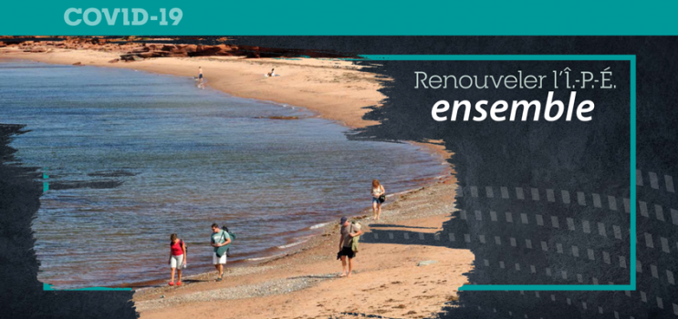 Graphic image of persons walking on a PEI beach spaced apart