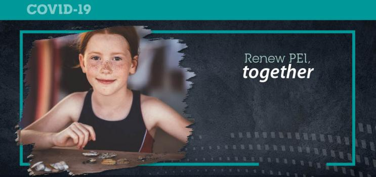 "Graphic image of young girl in a camp setting with text : ""RENew PEI Together"""