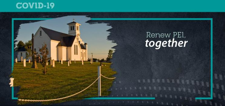 """Graphic with image of Summerfield Catholic Church and text """"Renew PEI Together"""""""