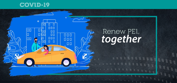"Graphic image of people car pooling with text ""Renew PEI togther"""