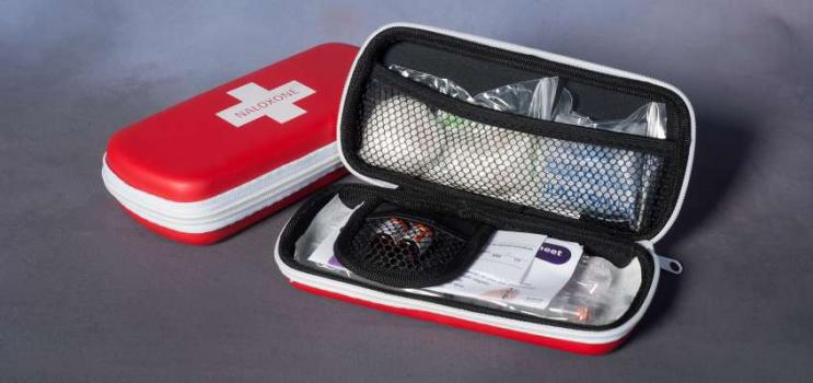 Naloxone kit open to show the contents