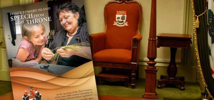 """Cover image of PEI Speech from the Throne 2017 is a Mi'kmaq woman and young girl making a craft; sub-title is """"At the opening of the third session of the 65th General Assembly of the PEI Legislature, November 14, 2017"""