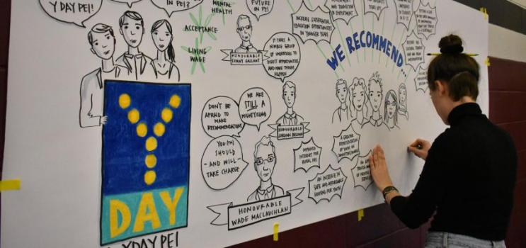 Facilitator of YDAY PEI 2017 creates event banner